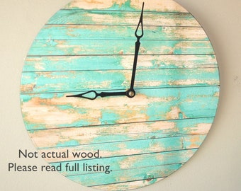 "SILENT ""Wood"" Image Wall Clock in Aqua Turquoise 12 Inches, Unique Wall Decor, Large Wall Clock, Rustic Wall Clock (NOT Real Wood)  2083"