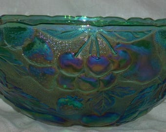 Large Blue Carnival Glass Bowl with Fruit