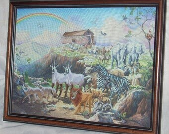 "Vintage Noah's Ark Crewel Embroidery Wood Frame and Glass 17 1/2"" x 13 1/2"""
