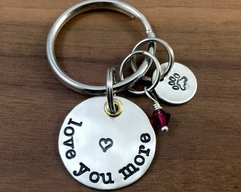 Love you More Keychain - Hand Stamped Silver Keychain