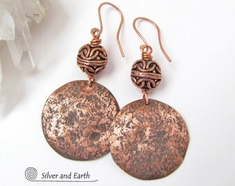 Hammered Copper Earrings with Filigree Beads, Artisan Handmade Jewelry, Edgy Modern Earrings, Copper 7th Anniversary Jewelry Gift for Her
