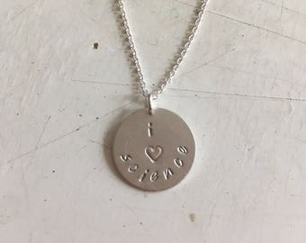 I *heart* science-- stamped sterling silver necklace  science education geek chic collection