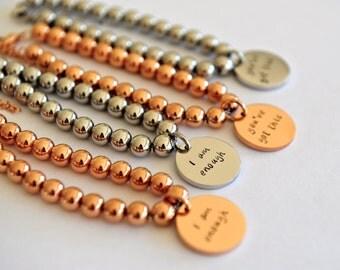 Charm Bangle, Hand Stamped Charm, Inspiration Gift, Hand Stamped Bangle, Bead Bracelet, Personalized Bracelet, Gift For Her, Inspirational