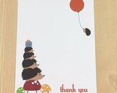 Hedgehog with Mushrooms and Balloon Thank You A2 Flat Note Cards (Choose your envelope color) (Set of 10)