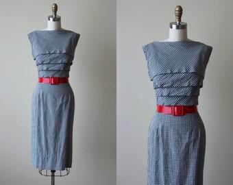 1950s Dress - Vintage 50s Dress - Black Cotton Gingham Plaid Cotton Wiggle Dress M - Miss TJ Dress