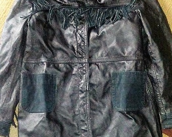 Vintage Gena Black Leather Fringed Jacket- 9/10