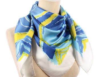 Nautical Silk Scarf 70s Vintage BRUSH STROKES Print Shawl Blue White Yellow Hand Rolled Edges Rare Retro Silk Shawl Women Girlfriend Gift
