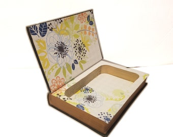 Hollow Book Safe The Little Nature Library Wild Flowers Cloth Bound vintage Secret Compartment Box Hidden Security Box