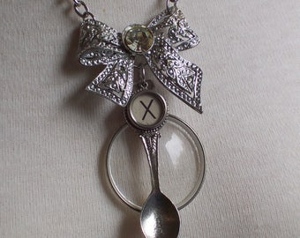 Rhinestone Bow Optical Lense Souvenir Spoon Typewriter Key Assemblage necklace by ceeceedesigns on etsy