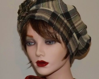 Green and Brown Tartan Hat