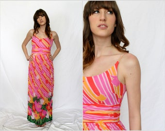 Pink Silk Chiffon Tank Maxi Dress -  Stripe Floral - 1970s - Gus Mayer - Cruise Resort Wear - Small