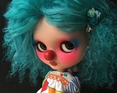 Beautiful full Medium Dark Teal Lambskin Neo Blythe Skinny for Blythe Doll Scalp CoolCat