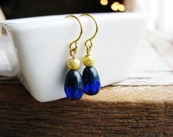 Blue and Gold Earrings, Czech Glass Earrings, Blue Earrings, Gold Earrings, Glass Dangle Earrings, Bridesmaids Gifts, Bridal Earrings