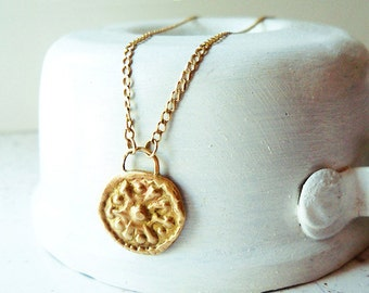 Gold Coin Necklace / Coin Pendant / Handmade Coin Necklace / Solid Gold Necklace / Coin Charm / Wedding Necklace/ Necklace For Her