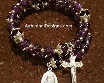 AMETHYST 5 Decade Rosary Wrap Bracelet, Gemstone Sterling Silver