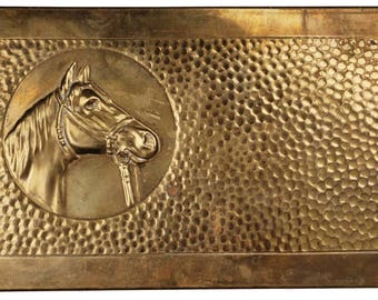 Vintage Hand Hammered Brass Box with Horse