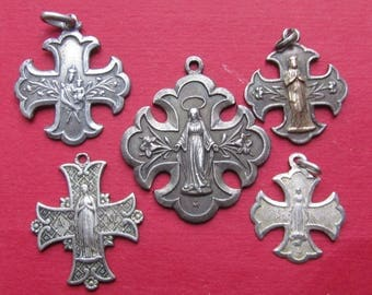 Virgin Mary Antique French Cross Religious Medal Five Piece Lot Catholic Pendants  SS261