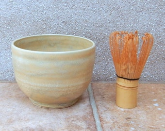 Matcha chawan green tea bowl with a chasen whisk hand thrown in stoneware pottery ceramic handmade wheelthrown