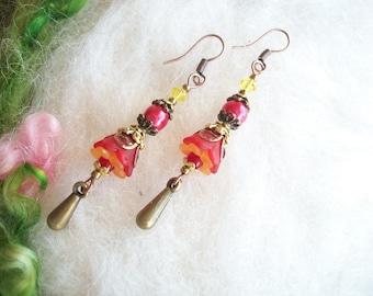 Dainty Boho Hippie Boho Hippie Flower Earrings, Sunrise Lucite Beaded Dangle Earrings, Bell Flower with Glass Beads and Copper