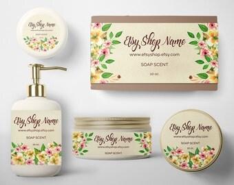 SALE 30% OFF Soap Label - Soap Packaging - Soap Wrapper - Cosmetic Labels -  Printable Label Design - Product Labels - Floral 200-16