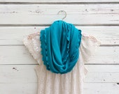 Turquoise Blue Scarf, Blue Infinity Scarf with Ruffles, Circle Scarf, Women Scarves, Jersey Scarf, Gift Idea for Her