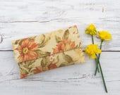 SALE, Bridesmaid Clutch, Floral Clutch in Cream and Rose, Fall Wedding, Rustic Wedding, Bridesmaid Gift Idea, Linen Clutch, Flowers Handbag
