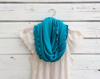 Turquoise Blue Scarf, Blue Infinity Scarf, Circle Scarf, Winter Scarf, Cowl, Women Scarves, Jersey Scarf, Jannysgirl, Gift Idea for Her