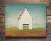 White Barn Farmhouse Illustration by Ryan Fowler - Gallery Wrapped Stretched Canvas Wall Art  Signed
