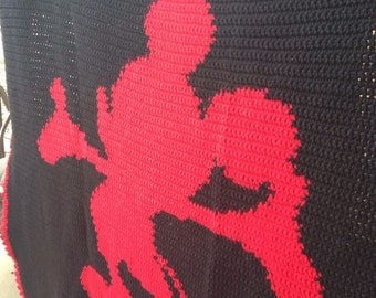Silhouette Mickey Mouse Crocheted Blanket - Ready to Ship - 66 x 74 Inches