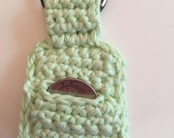 Light Green Crocheted Quarter Keeper/ Quarter Keeper/ Crocheted Quarter Keeper