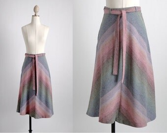 1970s pastel chevron stripe skirt * TP067