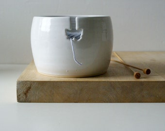 Ready to Ship - The butterfly yarn bowl in brilliant white