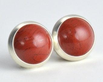 red jasper 8mm sterling silver stud earrings pair