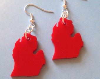 Michigan Earrings - State Jewelry - Lower Peninsula - Red Acrylic Plastic