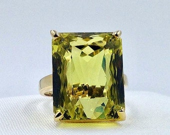 Lemon Quartz Ring, Statement Ring, Quartz Ring 40.0cts, Gift for her, Appraisal Included