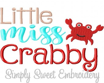 Little Miss Crabby Machine Embroidery Design
