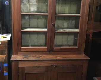 Early American Stepback Cupboard Cabinet Mixed Wood One Piece 45w13.5d18.5d88.5h Shipping is Not free
