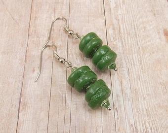 Earrings - African Powder Glass Beads - Green - Tribal - Trade - Krobo - Ethnic
