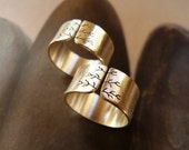 Sycamore tree rings, sanded Sterling silver rings, wide band rings metalwork jewelry
