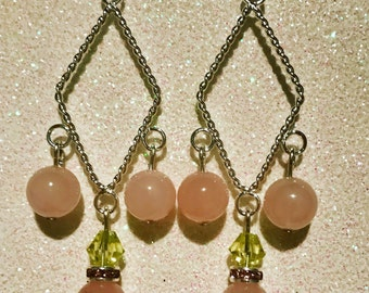 Rose Quartz Chandelier Style Earrings with Swarovski Crystals