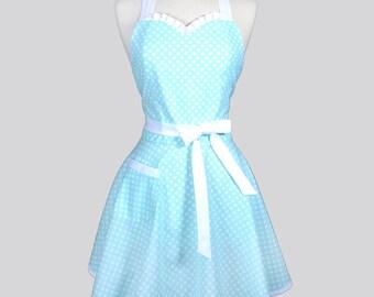 Sweetheart Womens Retro Apron - Soft Mint Blue Polka Dot Cute Flirty Vintage Style Pin Up Kitchen Woman Apron or Wedding Bridal Gift Apron