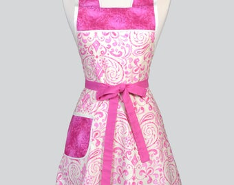 Retro Housewife Apron / Kumari Garden in Fuchsia Pink and Ivory Womens Vintage Inspired Old Fashioned Kitchen Apron with Pockets