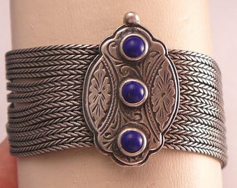 Byzantine Sterling Multi Chain Bracelet with Lapis Engraved Closure
