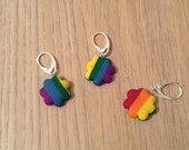 Rainbow flower stitch markers - Rainbow -Progress keeper - Set of 3 - Crochet - Knitting - Notions