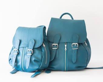 Leather blue petrol backpack, large women rucksack back bag soft leather bag back pocket bag - Artemis backpack