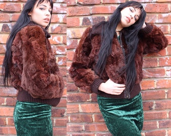 Vintage Rabbit Fur Zip Front Coat