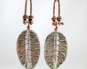 Mixed Metal Leaf Earrings