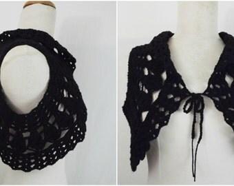 Black  crochet shrug ,crochet bolero  100% cotton , ready to ship
