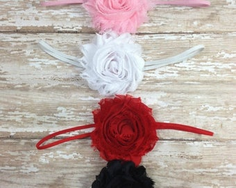 30% OFF SPRING SALE Set of 4 Flower Headbands, Pink, White, Red, Black, Baby Headband, Infant Headband, Newborn Headband, Baby Shower Gift,