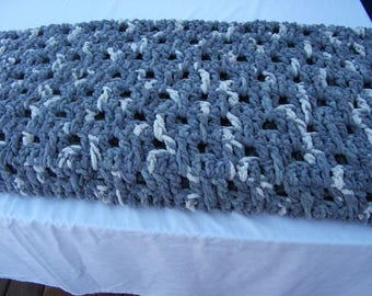 Crochet Afghan Blanket Silver Steel shades of grays with a touch of dark vintage white.